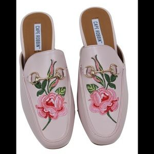 Shoes - Light Soft Pink Floral Embroidered Slip on Mules